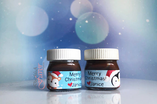 Christmas in the Forest Mini Nutella Bottles