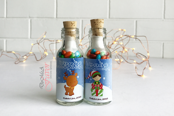 Happy Reindeer Xmas Potion Bottles