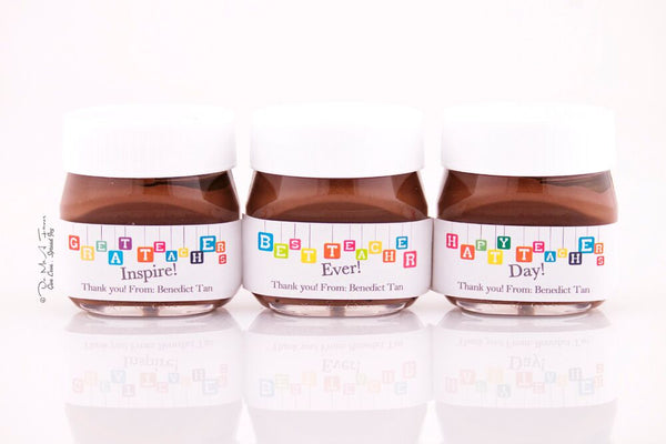 Colorful Banner Teacher's Day Mini Nutella Bottles