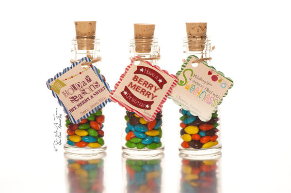 Christmas Greetings Tags Potion Bottles
