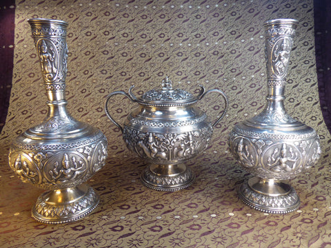 19th C Indian Silver Swami Pattern Trio.