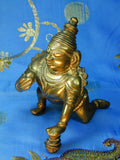 South Indian Bronze of Crawling Bala Krishna