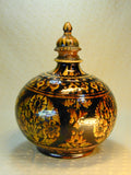 1880's Bombay School of Art globular bottle