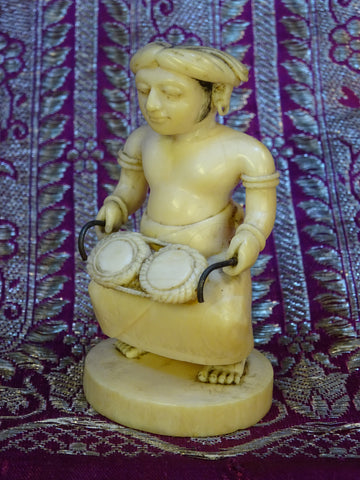 Fine Indian 19th c  Ivory Carving of Drummer