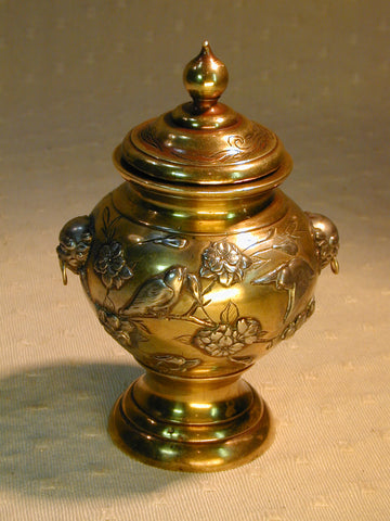 Antique Japanese Silver & Gold plate Pot & Cover