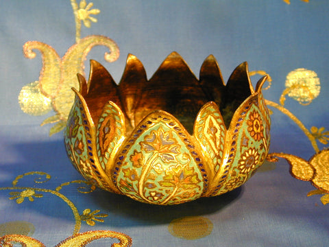 Kashmiri Lotus form Gilt Enamel Bowl