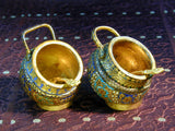 Pair of Kashmiri Gilt enamel Cruets with Spoons