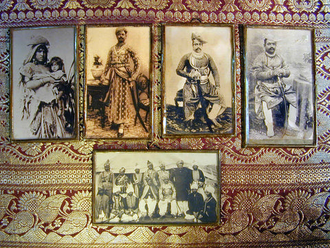 4 sepia photos of Indian Noblemen & a Tribal Mother