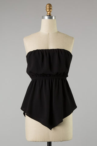 Black Strapless tie back top