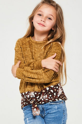 JUST ANNIE Color blocked leopard print knit sweater