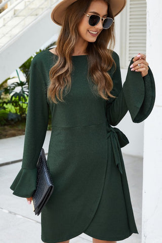 LONG BELL SLEEVE WRAP DRESS