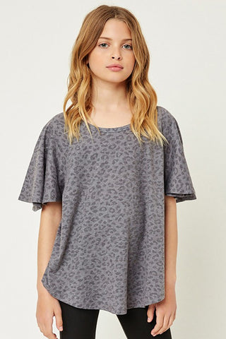 Kids Stone Washed Leopard Tee