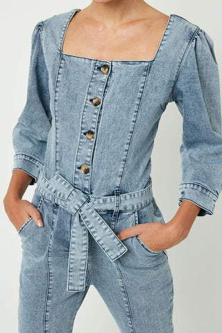 Stone Washed Denim Jumpsuit