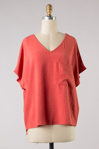 SHORT SLEEVE CASUAL WOVEN TOP