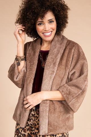 Faux Fur Dolman Coat