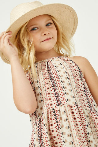 Girls Halter Floral Stripe Dress
