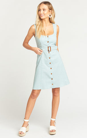 LILITH DRESS - DUSTY BLUE LINEN