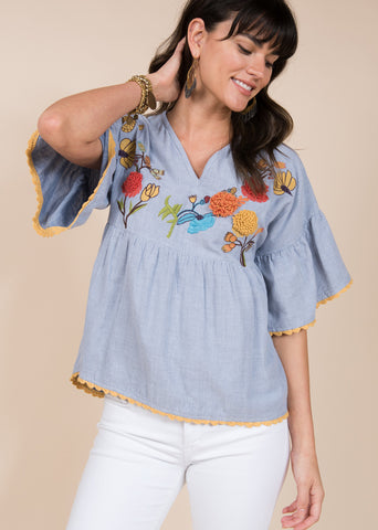 Poncho top w/dragonfly embroidery