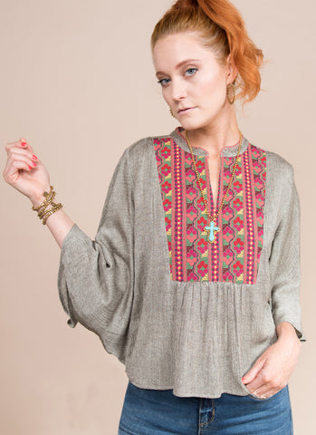 Poncho top w/emb yoke - Annie James Boutique