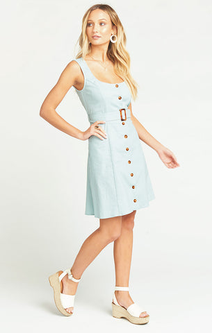 LILITH DRESS - DUSTY BLUE LINEN - Annie James Boutique