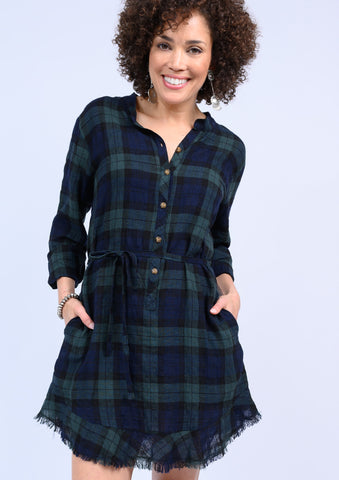 Flounced Hem Plaid Gauze Dress