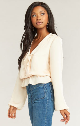 Brewster Top - Washed Satin Cream - Annie James Boutique