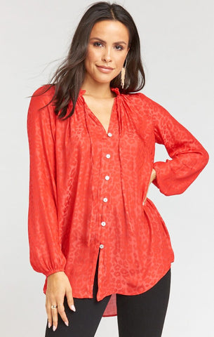 Alicia Tunic - Red Silky Cheetah