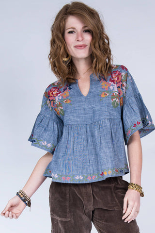 Ivy Jane Embroidered Chambray Top - Annie James Boutique
