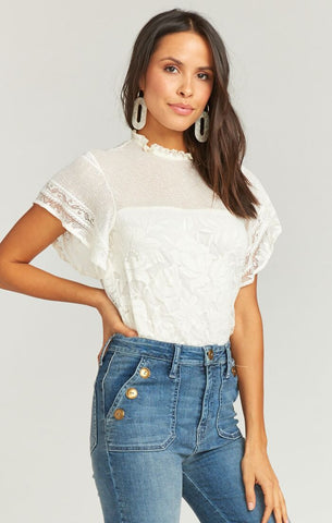 Maren Top - Moonlight Roses Lace Cream - Annie James Boutique