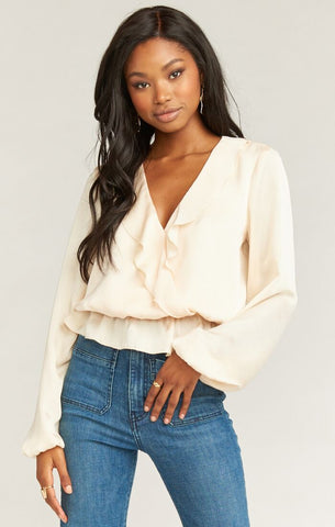 Brewster Top - Washed Satin Cream