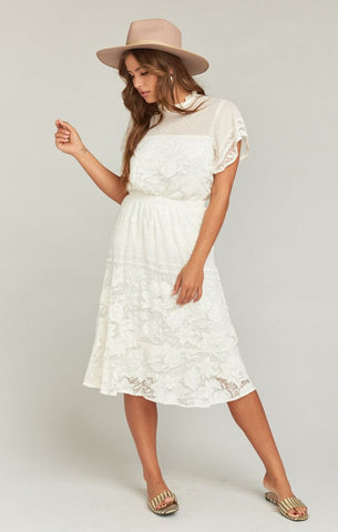Kellen Skirt - Moonlight Roses Lace Cream - Annie James Boutique