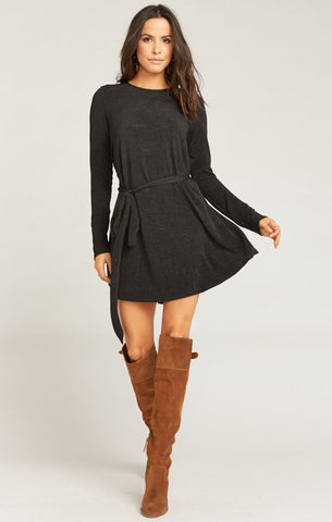 Toby Tie Dress - Ripple Scrunch Black