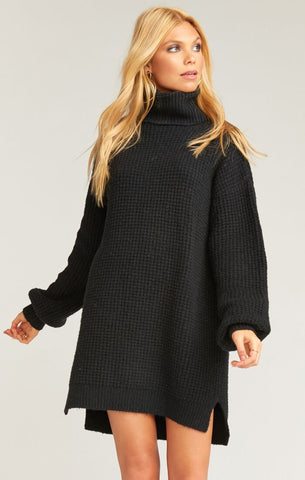Chester Sweater Dress - Black Knit