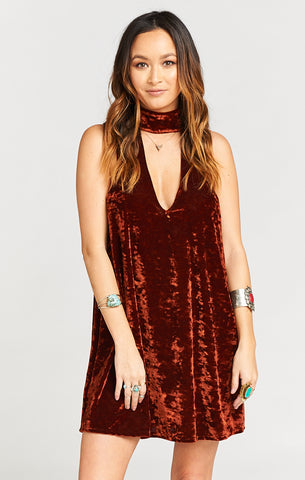 Friday Choker Dress- Copper Crushed Velvet