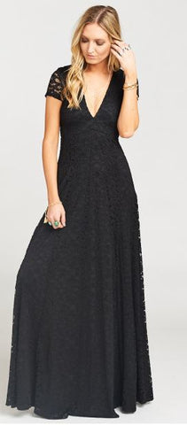 ELEANOR MAXI DRESS ~ FLEUR DE LIS LACE BLACK
