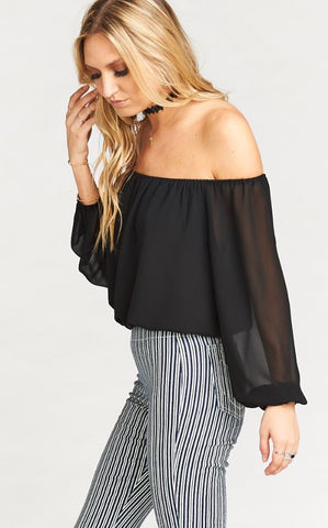 Lima Scrunch Top- Black Chiffon - Annie James Boutique