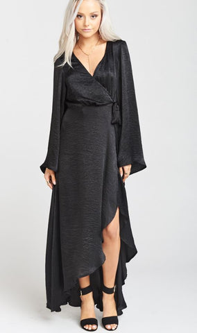 Show me your MuMu Anita Wrap Dress - Black silky Satin - Annie James Boutique