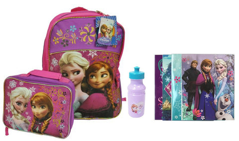 Disney Frozen Back to School Set- Backpack, Lunchbox, Water Bottle, Folders