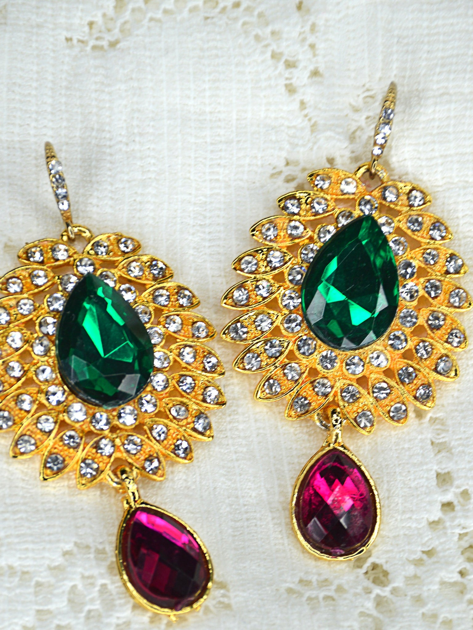 green wedding earrings
