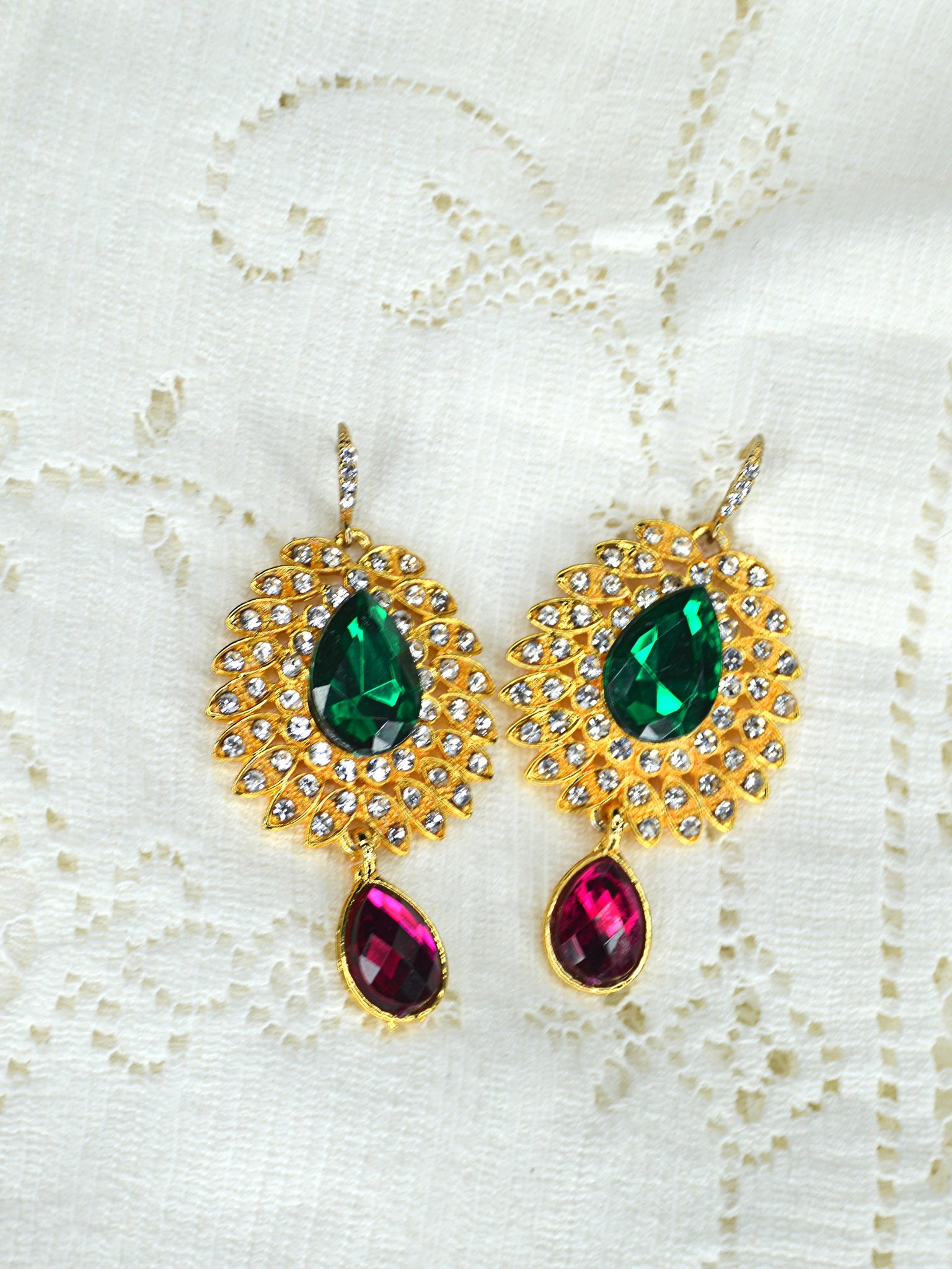 large gold wedding earrings pink green gold crystal rhinestone