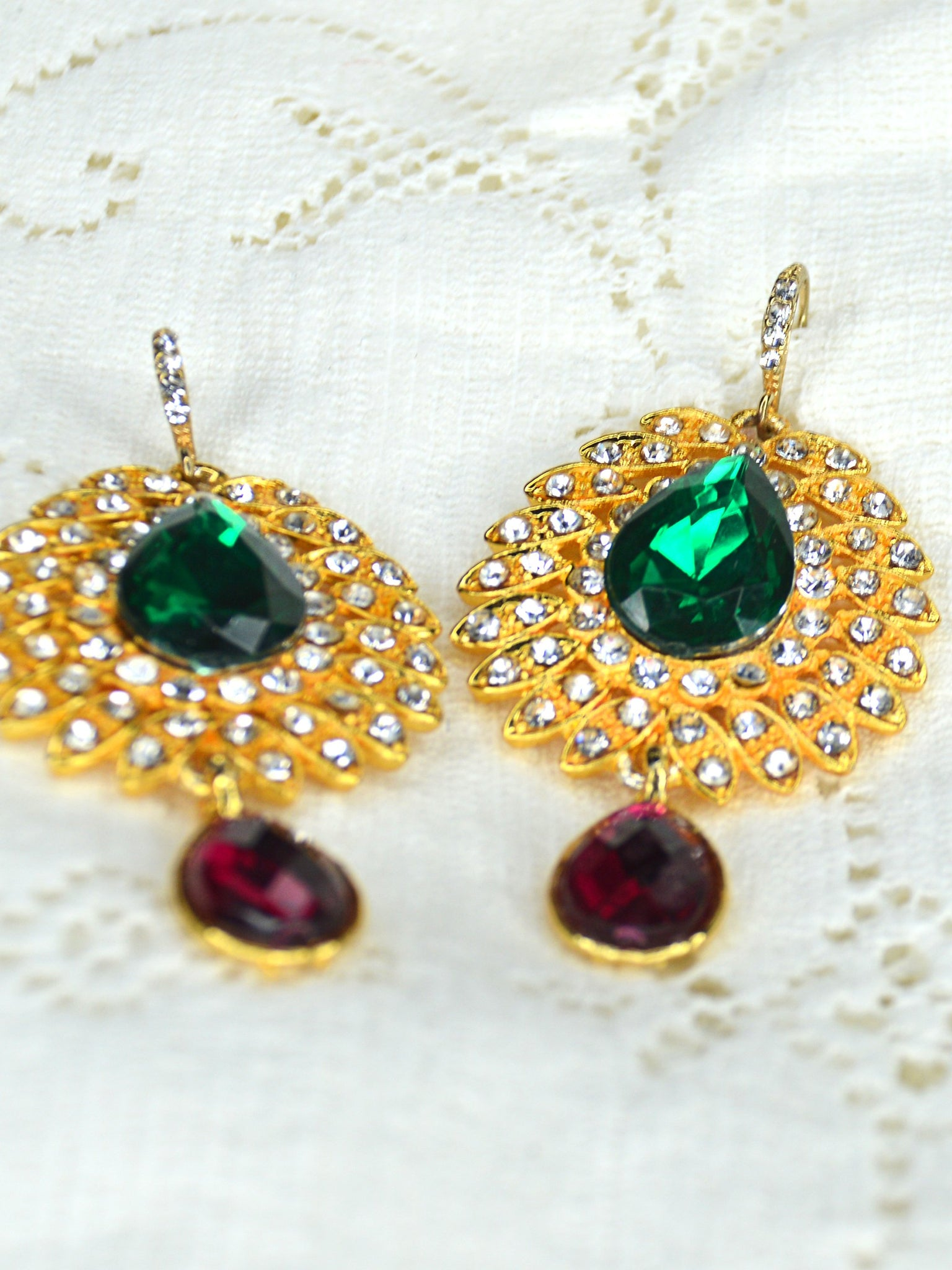 teardrop shape gold green pink bridal earrings