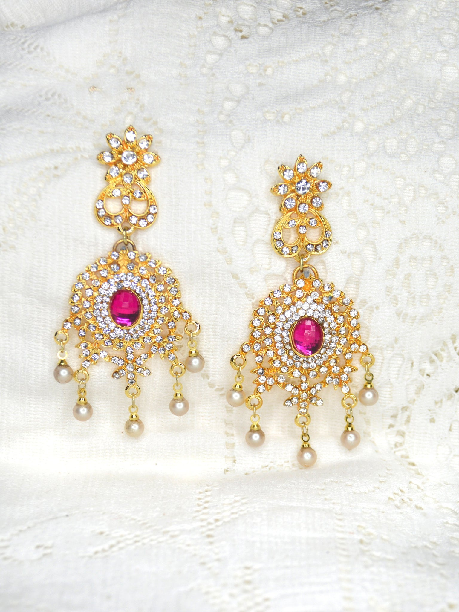 long gold drop earrings for brides pink cubic zirconia rhinestone