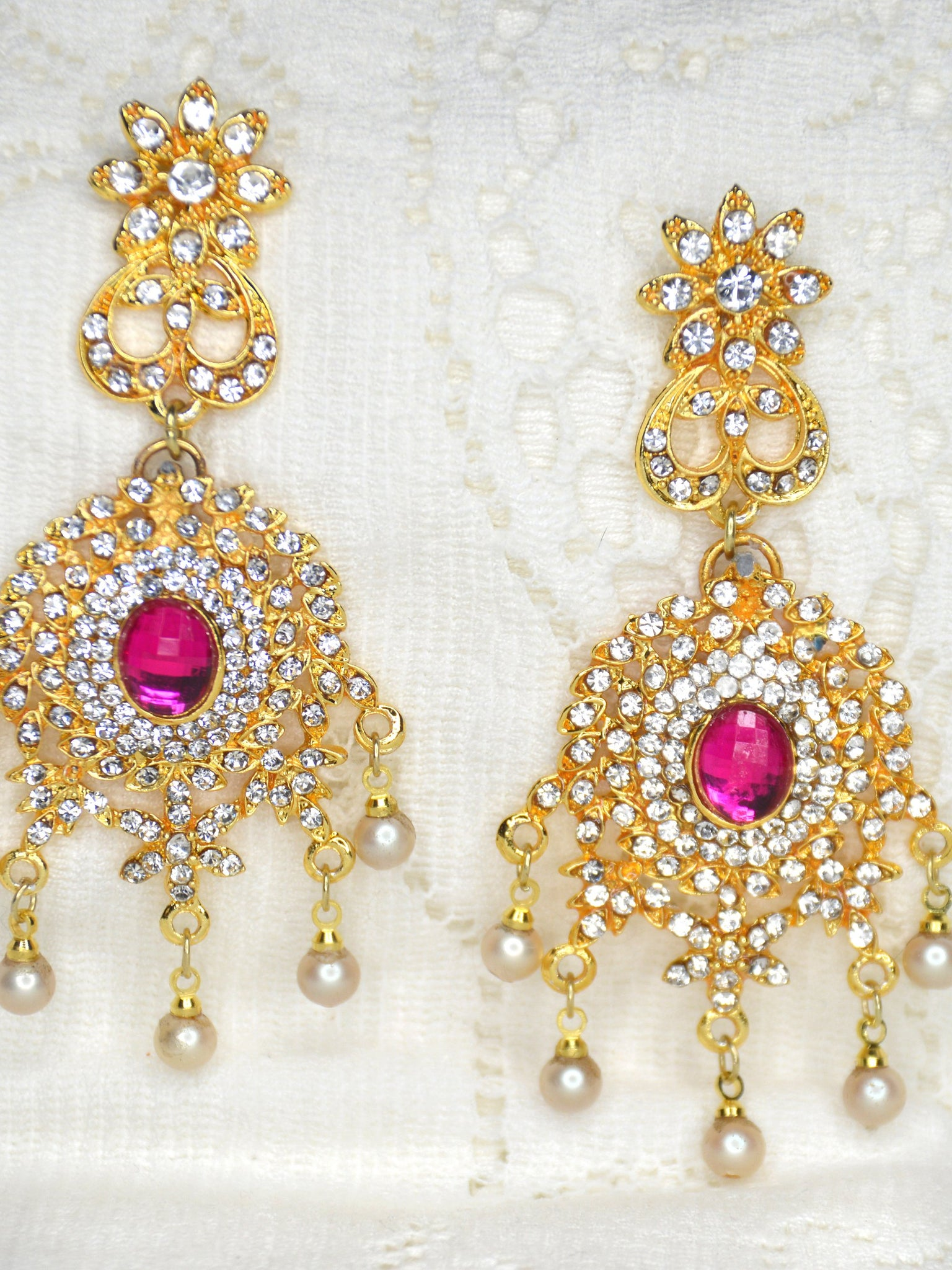 long gold dangle bridal earrings pink weddings