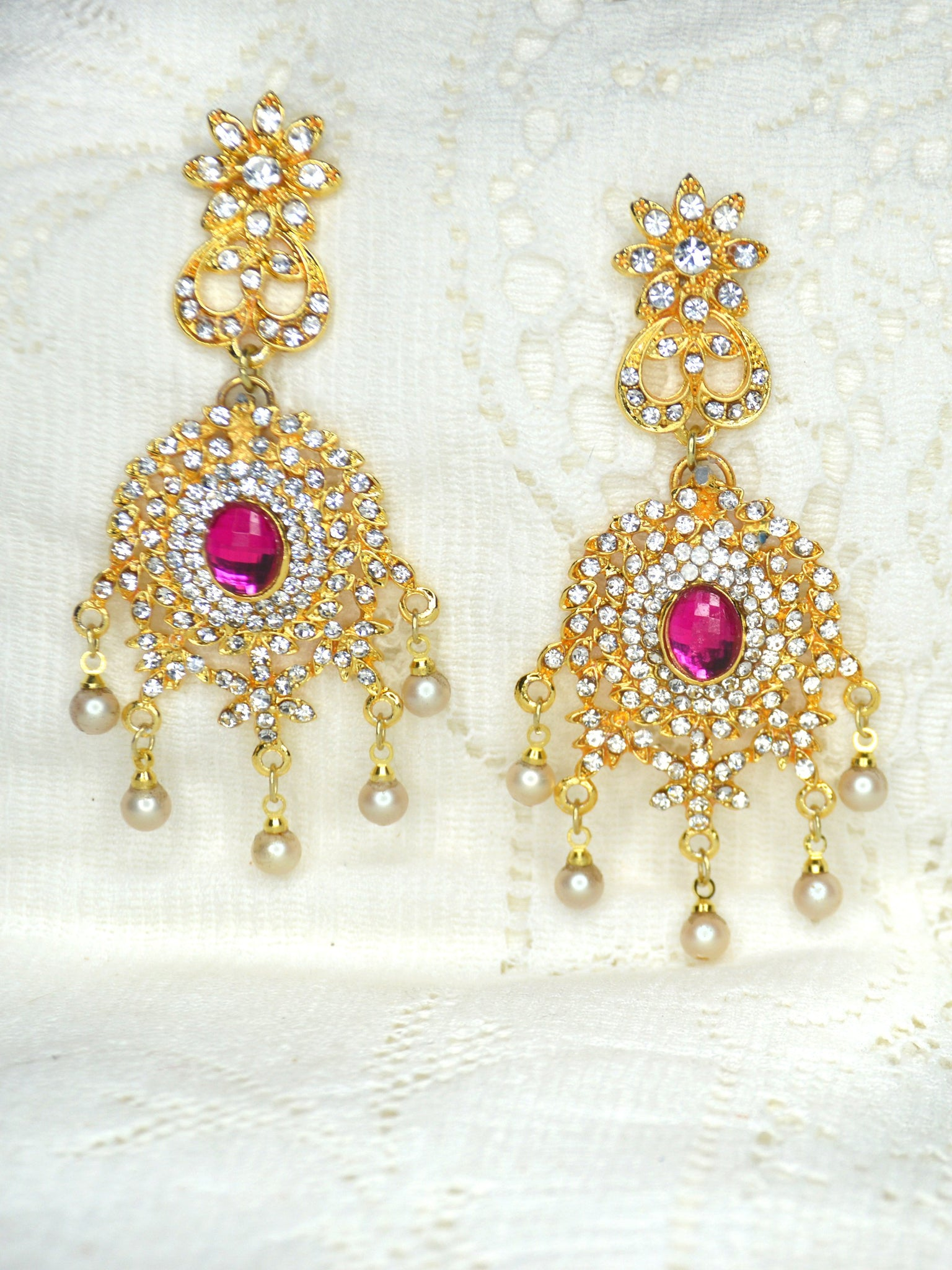 gold pearl earrings with pink gemstone bridal earrings