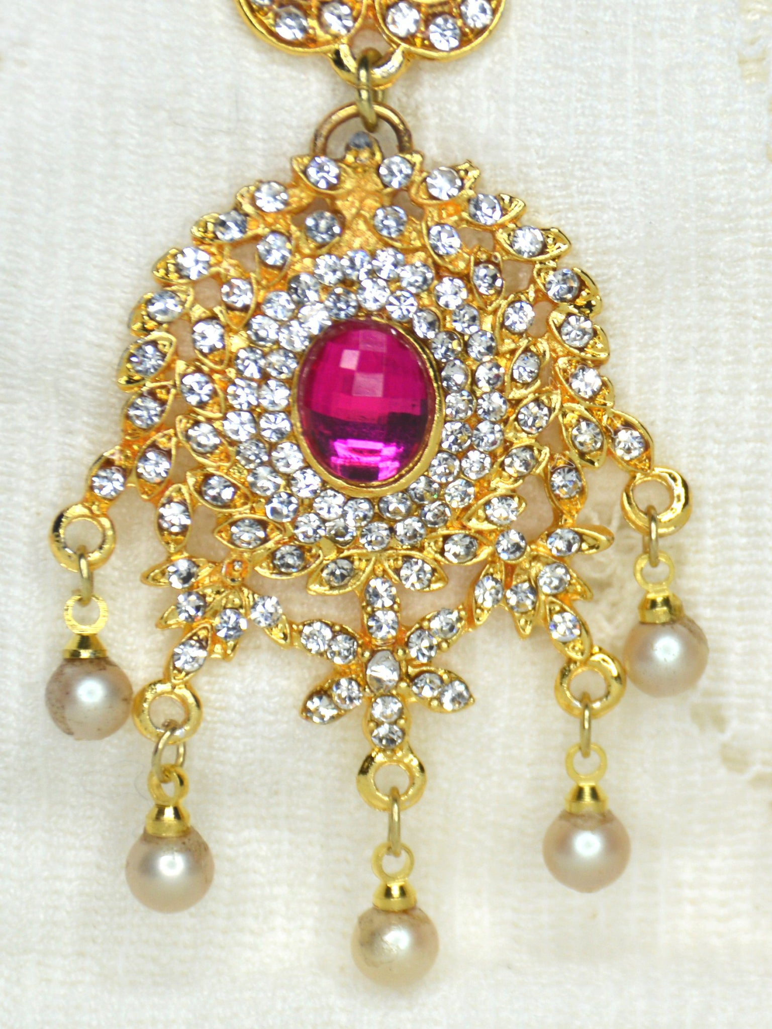 pearl chandelier earrings gold pink cubic zirconia cz