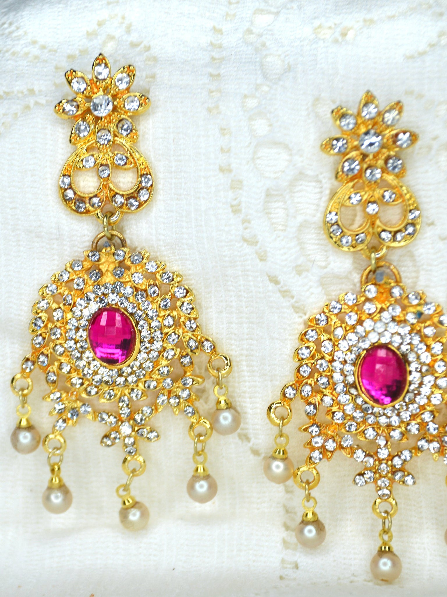 pink and gold wedding earrings statement earrings bridal jewelry
