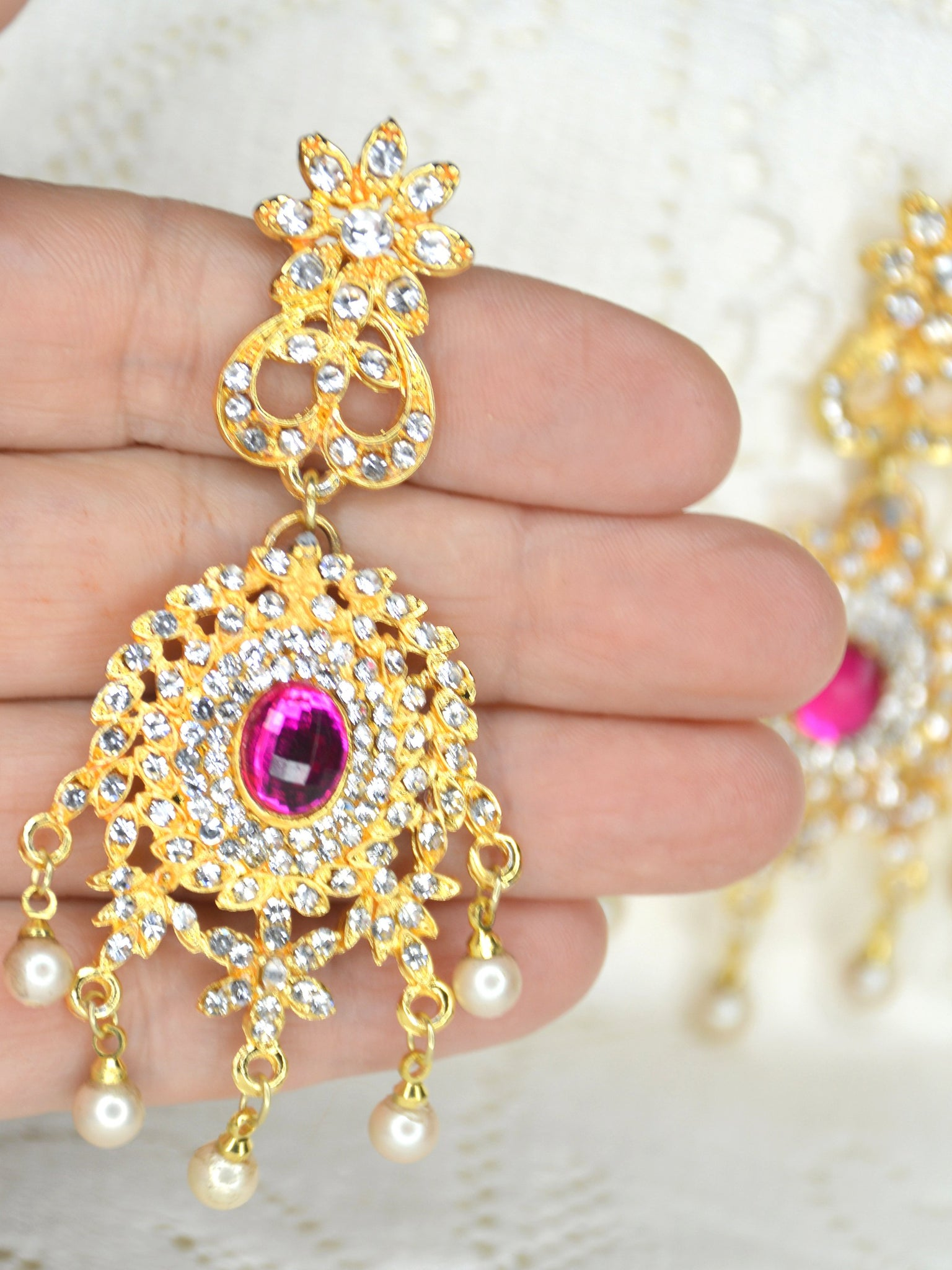 indian wedding earrings pink gold pearl