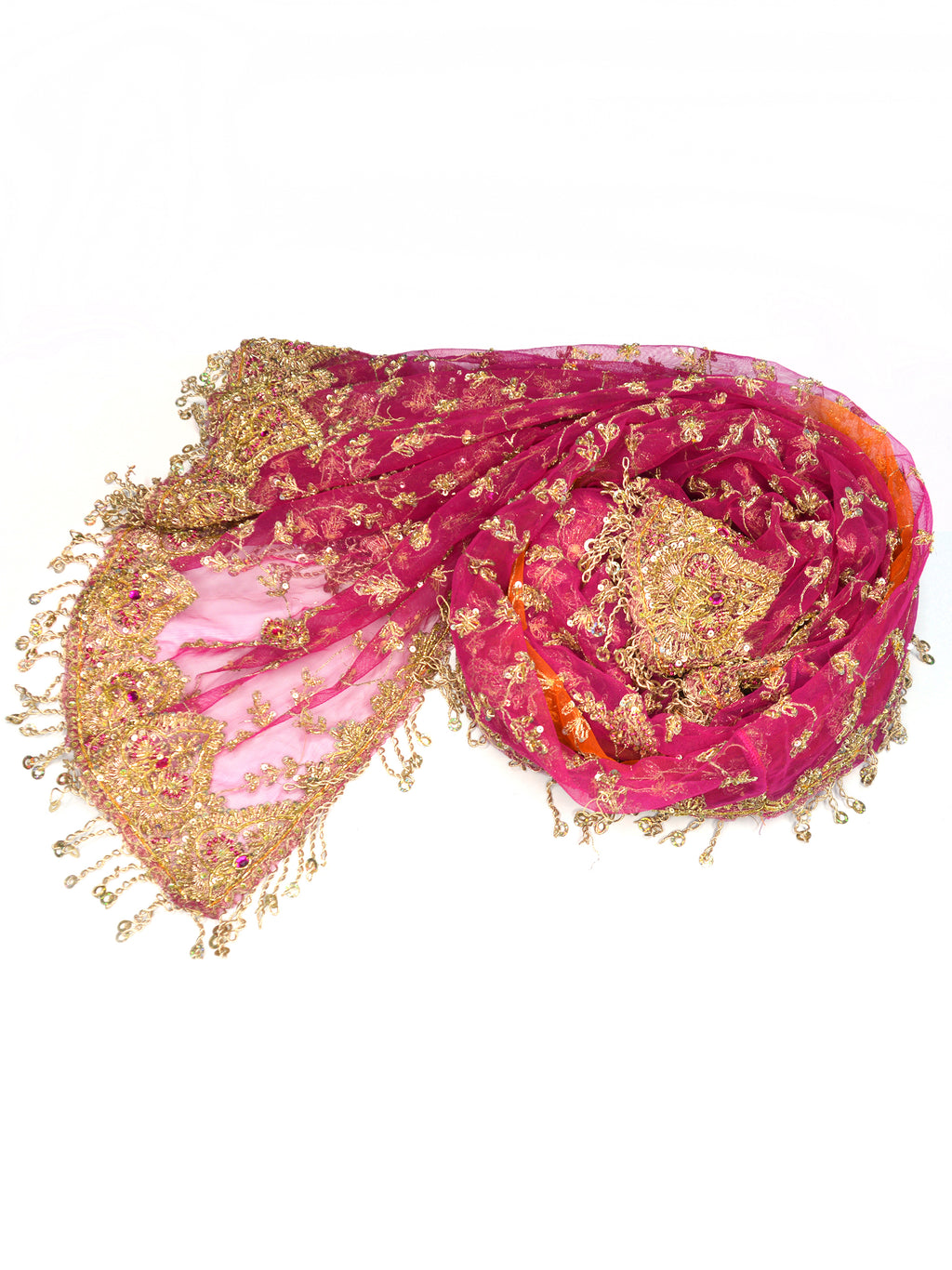 embroidered pink and orange bridal shawls
