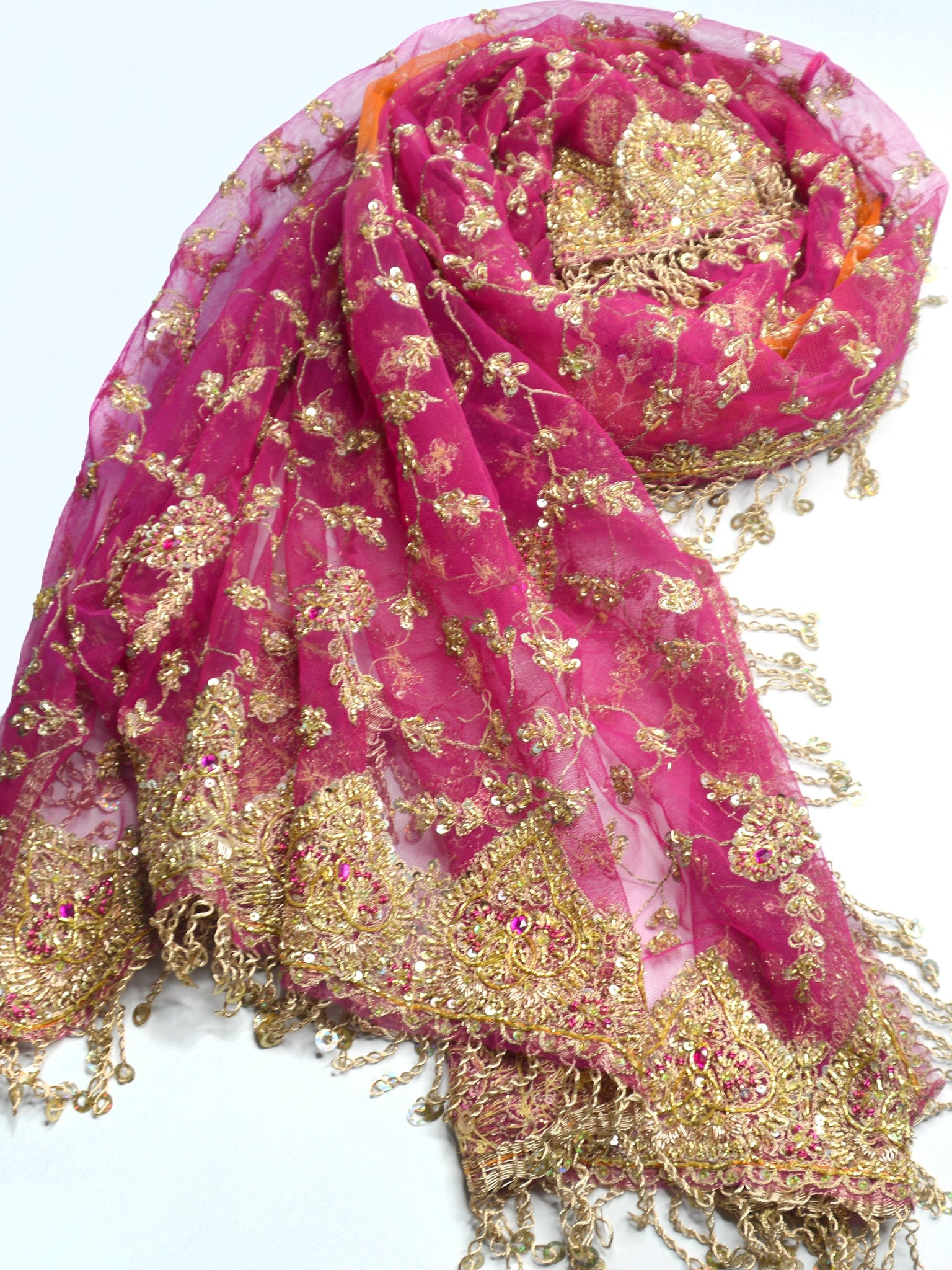 indian wedding shawl pink orange and gold