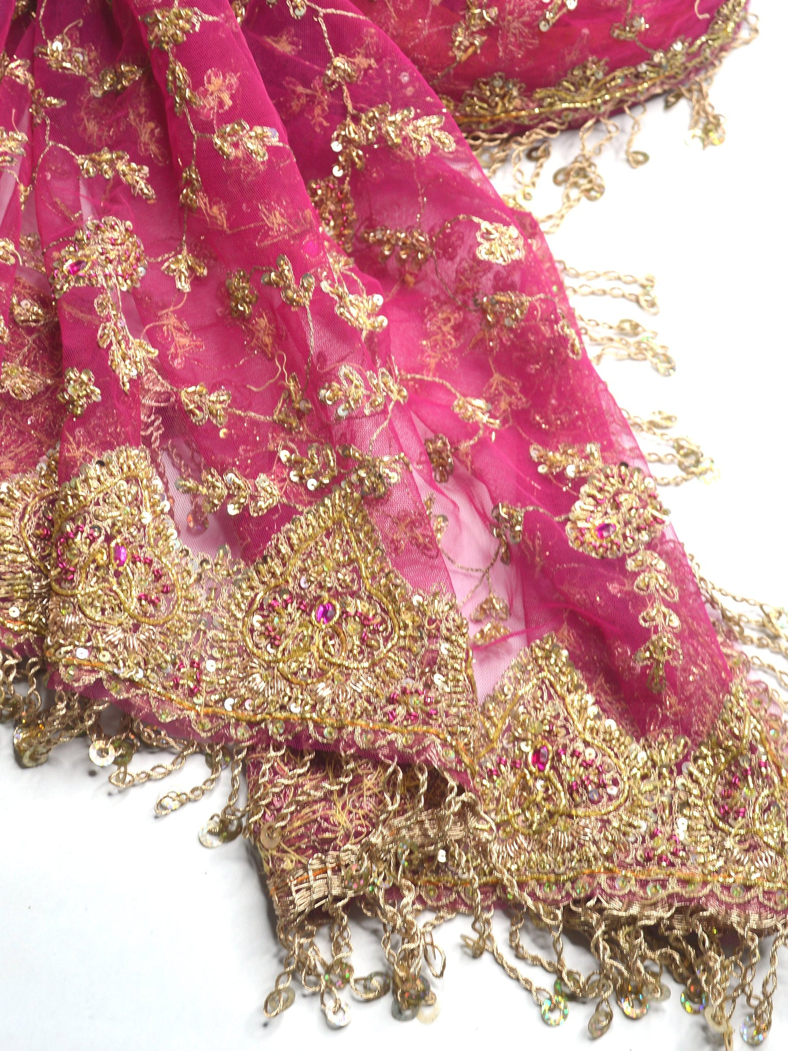 embroidered beaded pink and gold wedding shawl